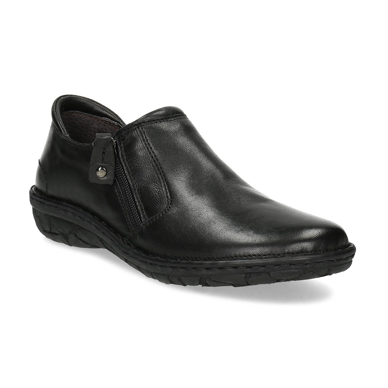 Dámska čierna kožená Slip-on obuv
