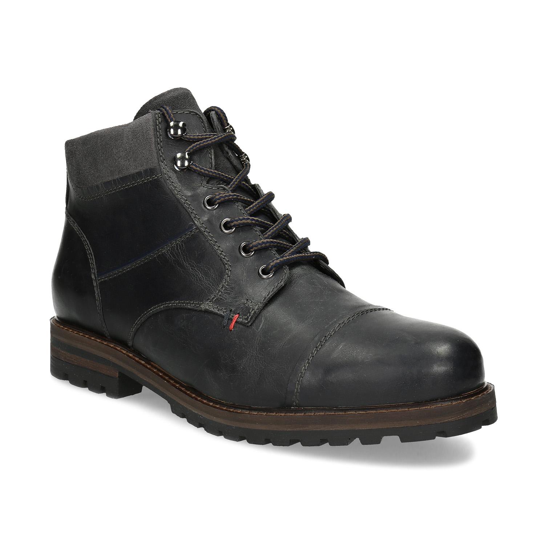 Pánska čierna kožená členková obuv