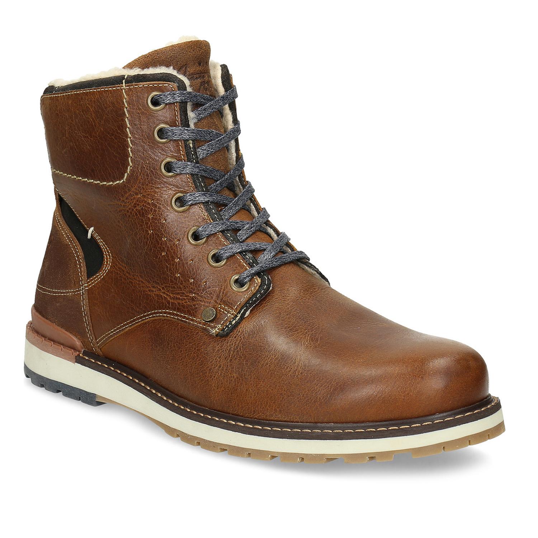 Hnedá pánska kožená zimná obuv