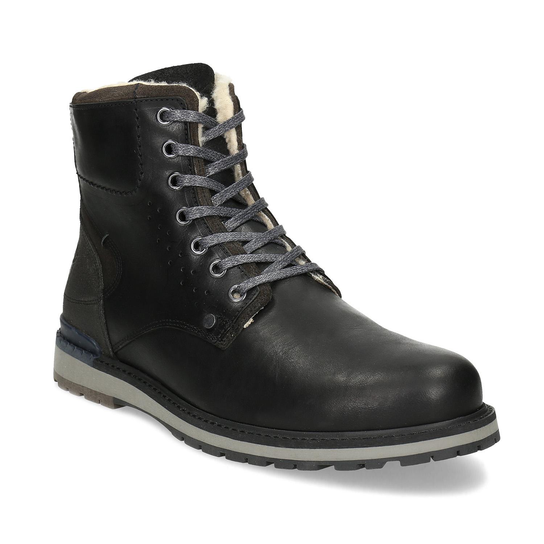Pánska čierna kožená zimná obuv