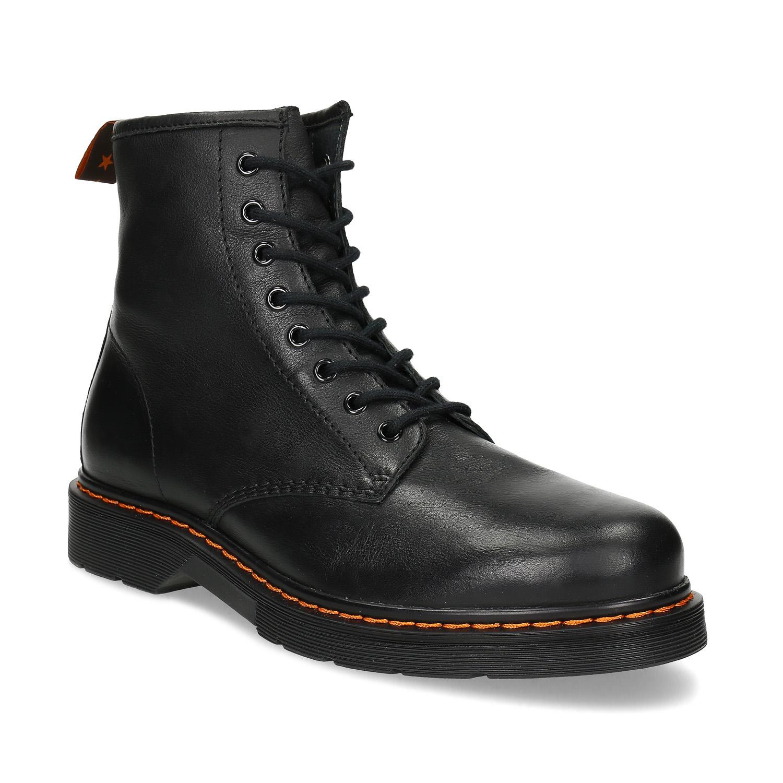 Kožená pánska čierna členková obuv