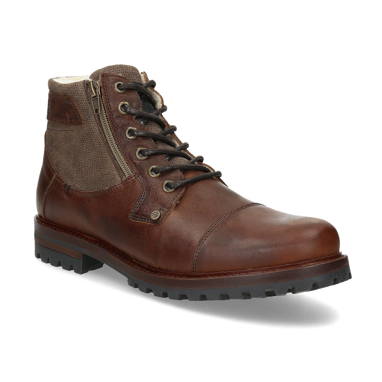 Hnedá pánska kožená členková obuv