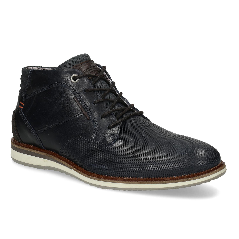 Tmavomodrá pánska kožená členková obuv