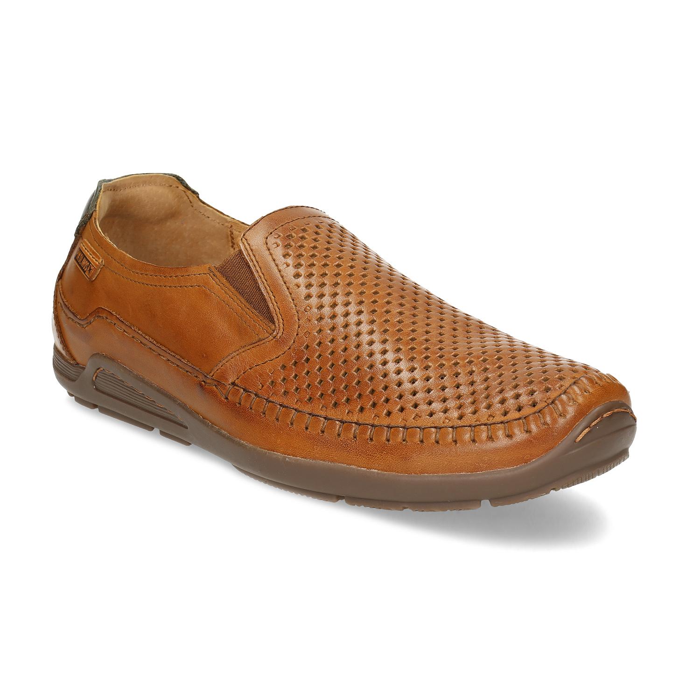 Hnedá pánska kožená obuv slip-on