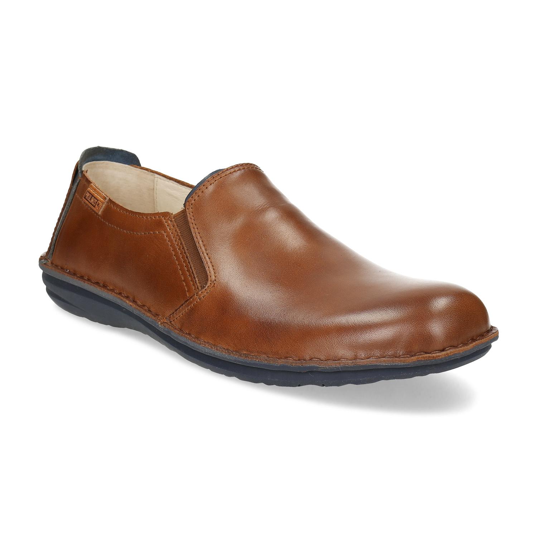 Pánska hnedá kožená obuv slip-on