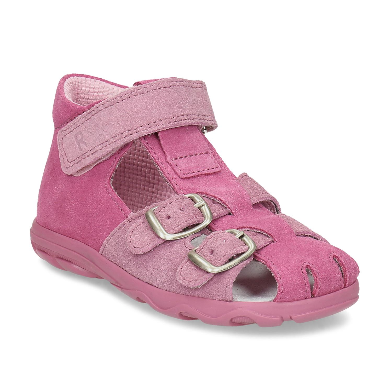 Dětské růžové sandály z broušené kůže Bata.cz