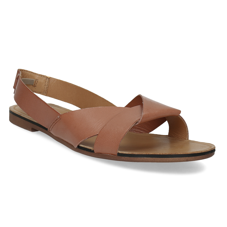 Dámske hnedé kožené sandále
