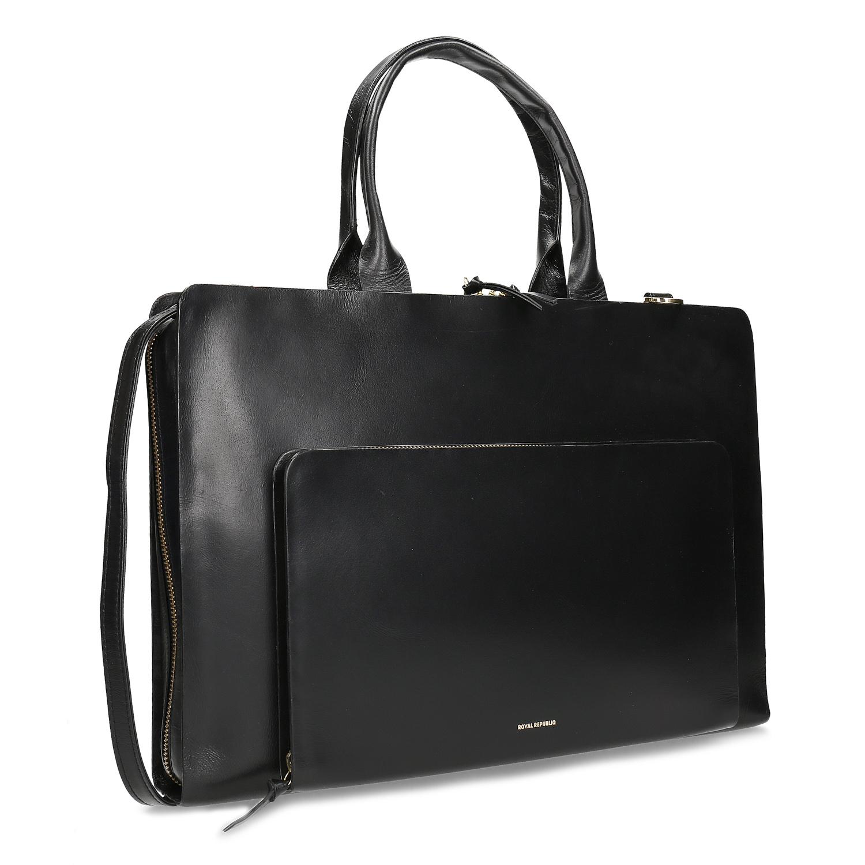 Dámska čierna kožená taška na dokumenty