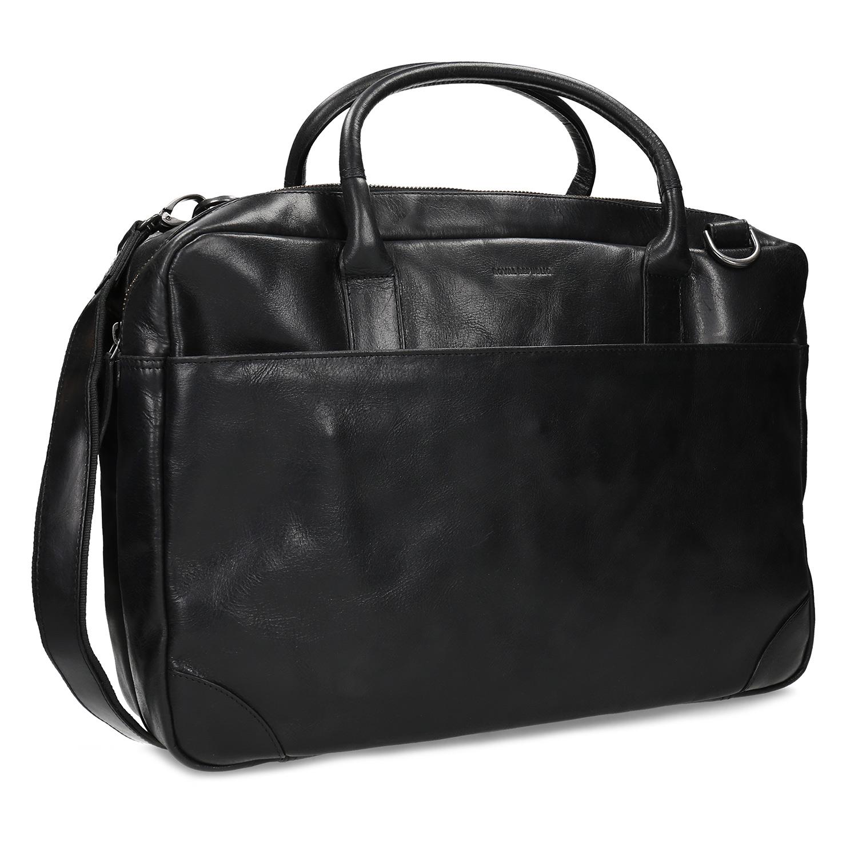 Kožená čierna taška s priehradkami