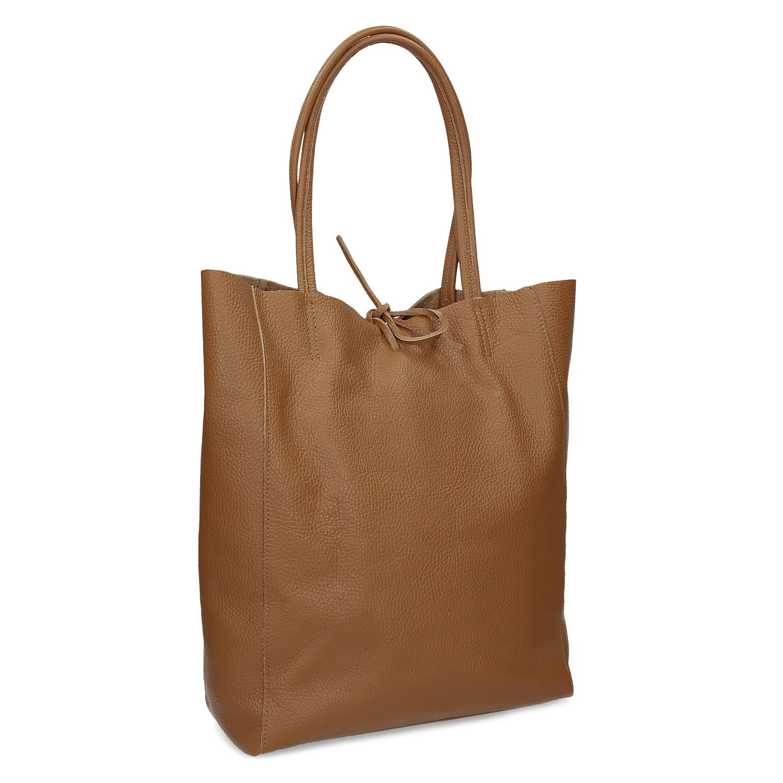 Hnedá kožená Shopper kabelka