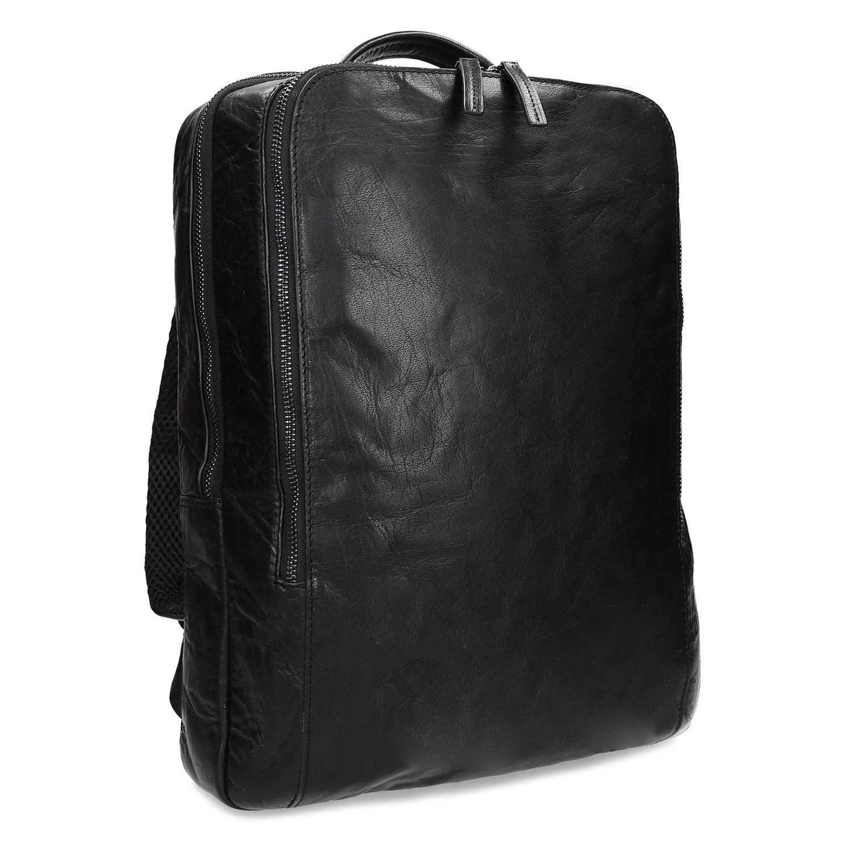 Čierny kožený pánsky batoh