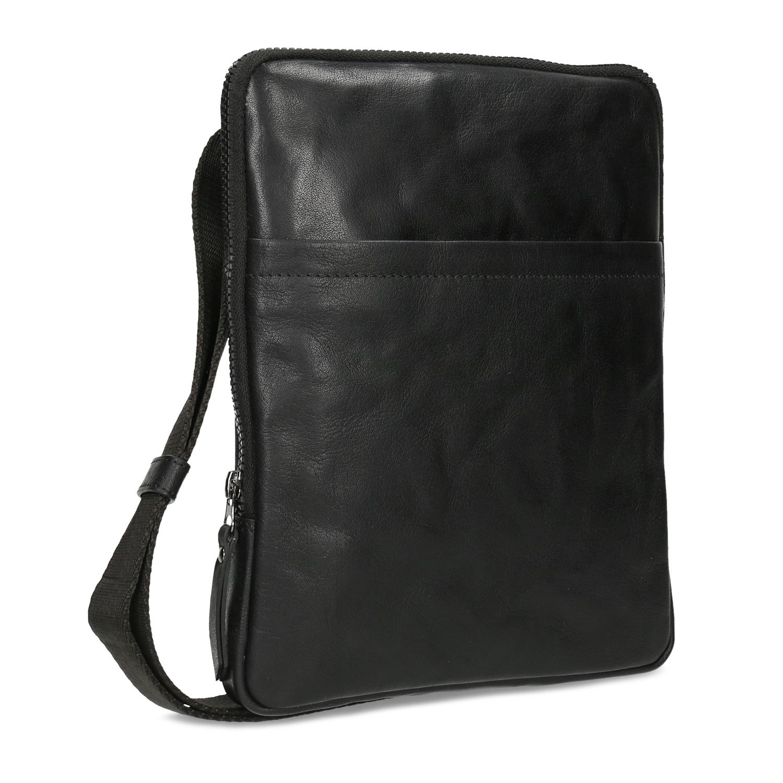 Pánska čierna kožená Crossbody taška