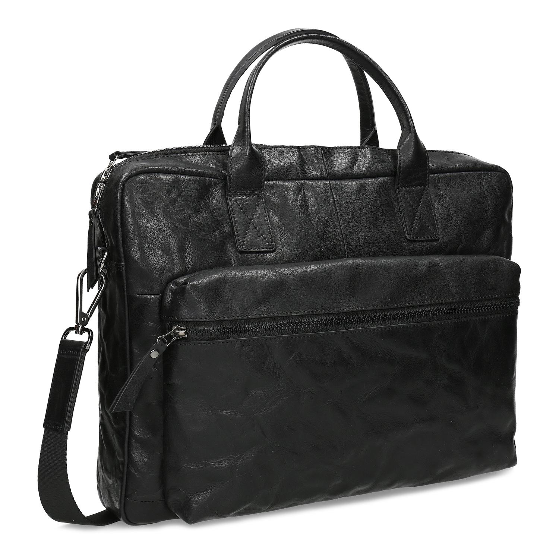 Čierna kožená pánska taška na dokumenty