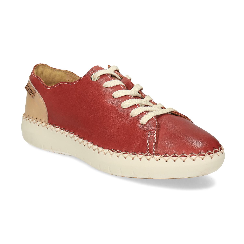 Červené kožené tenisky s prešitím