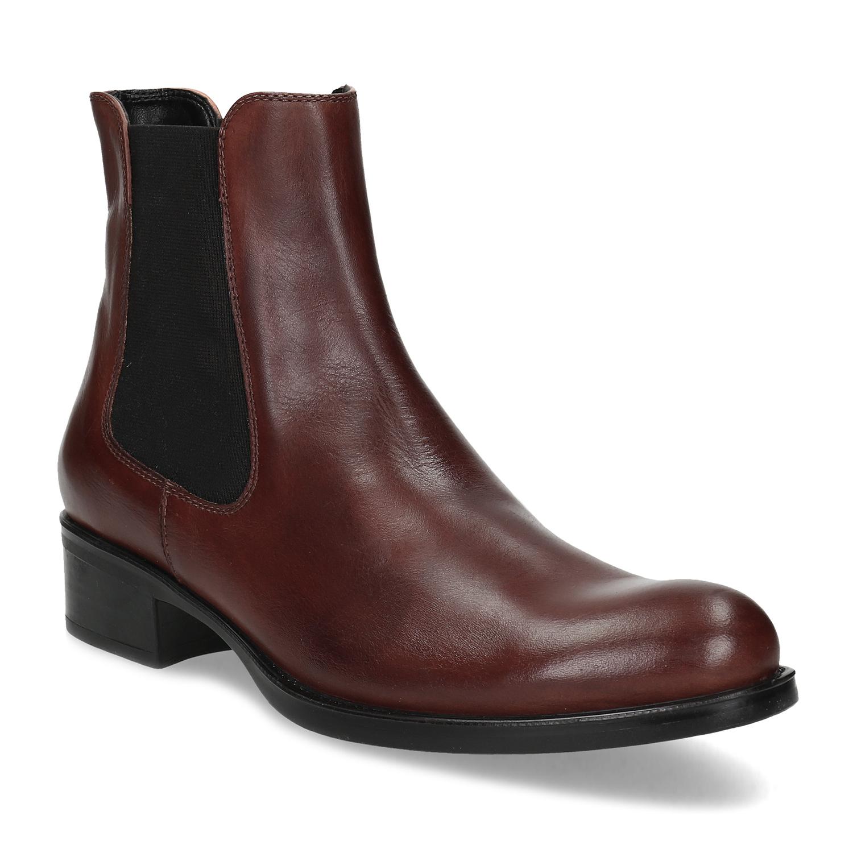 Kožená hnedá dámska obuv v Chelsea štýle