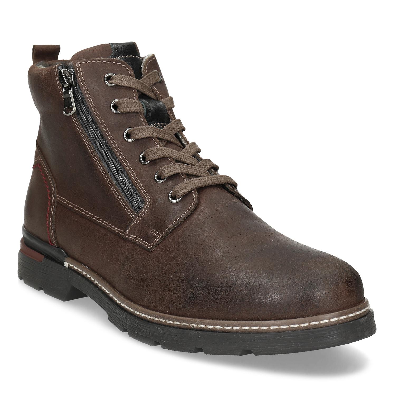 Pánska hnedá kožená členková obuv