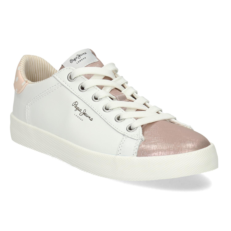 Biele kožené tenisky s ružovými detailami