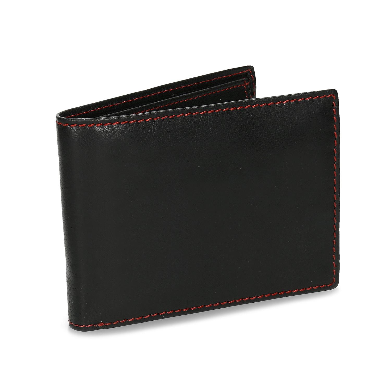 Čierna kožená peňaženka s červeným prešitím