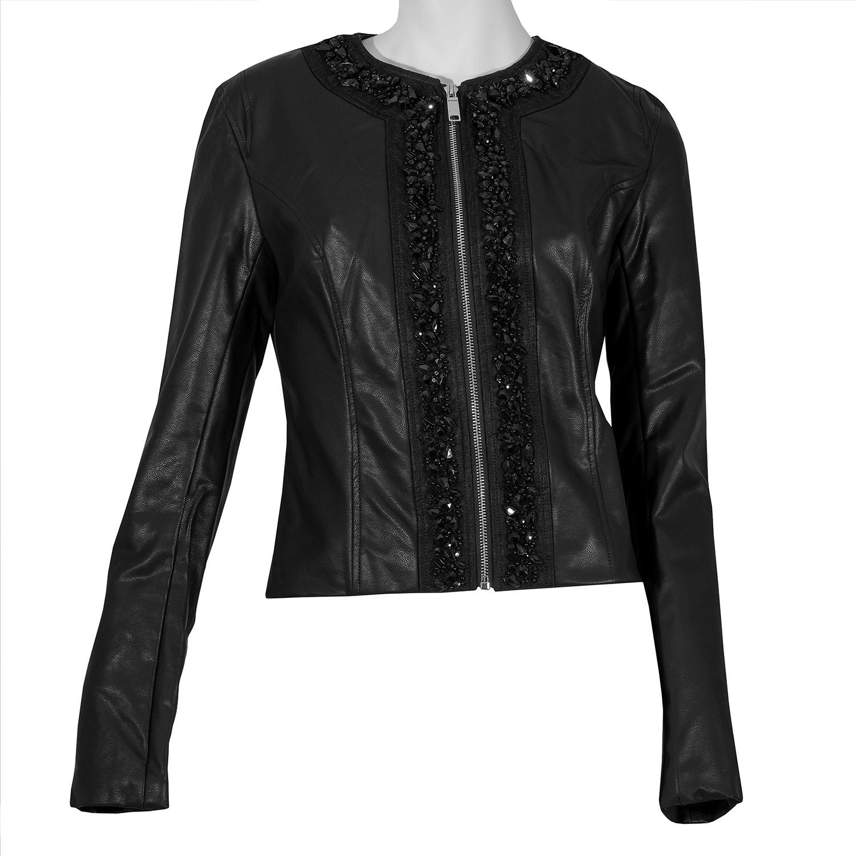 Dámska čierna bunda s ozdobnými kamienkami