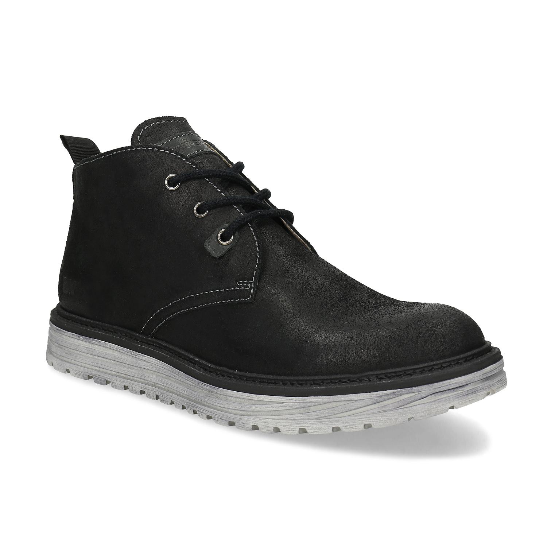 Členková čierna kožená pánska obuv