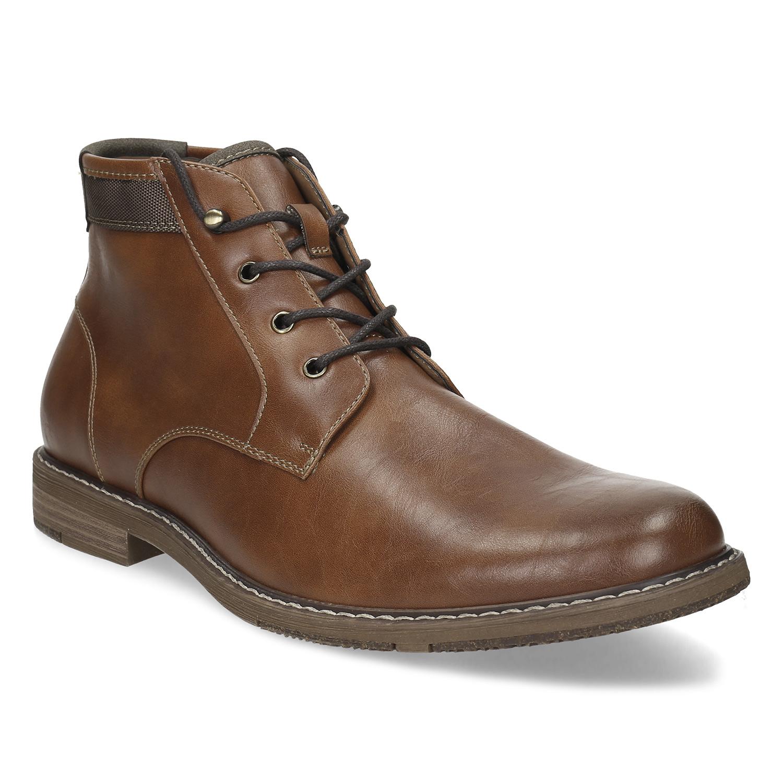 Pánska hnedá členková obuv s prešitím