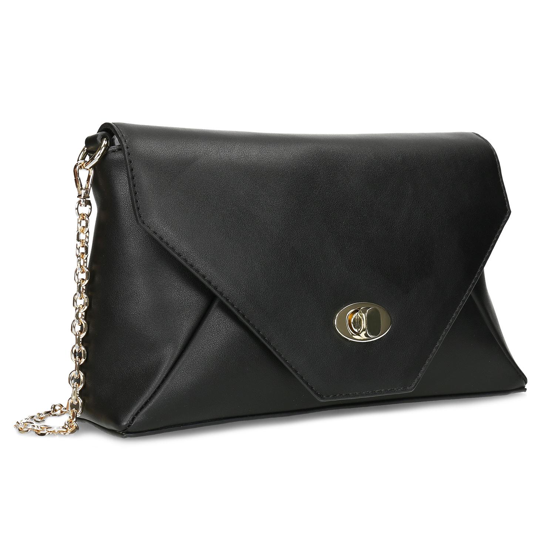 Dámska čierna listová kabelka s retiazkou