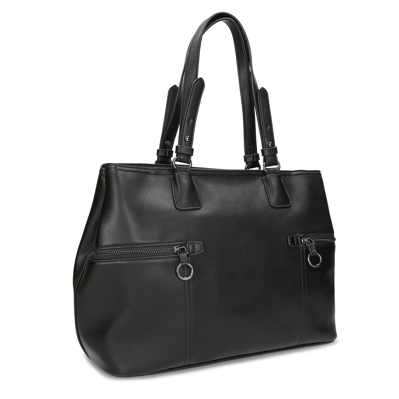 Dámska čierna kabelka so zipsami
