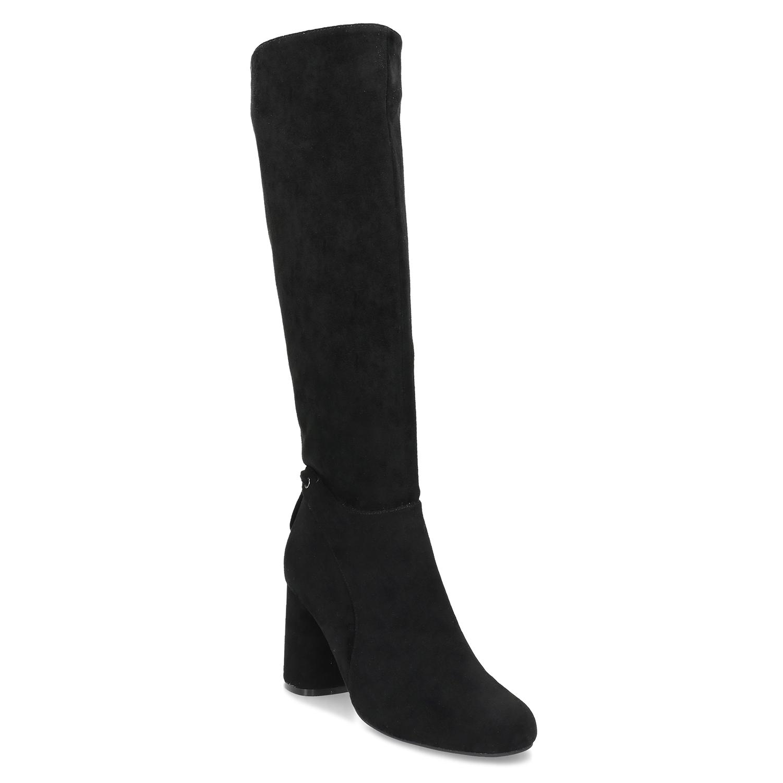 Čierne dámske čižmy na stabilnom podpätku