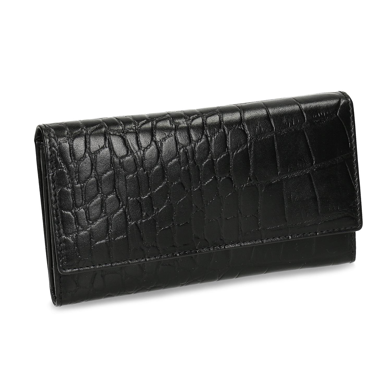Čierna kožená peňaženka so štruktúrou