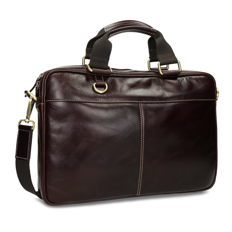 Pánska hnedá kožená taška s prešitím