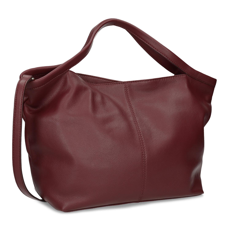 Červená dámska kožená kabelka