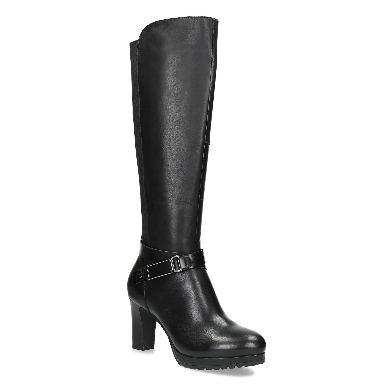 Čierne kožené dámske čižmy s prackou