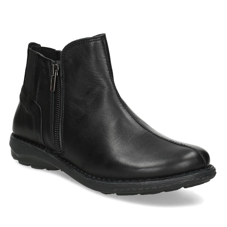 Dámska čierna kožená členková obuv