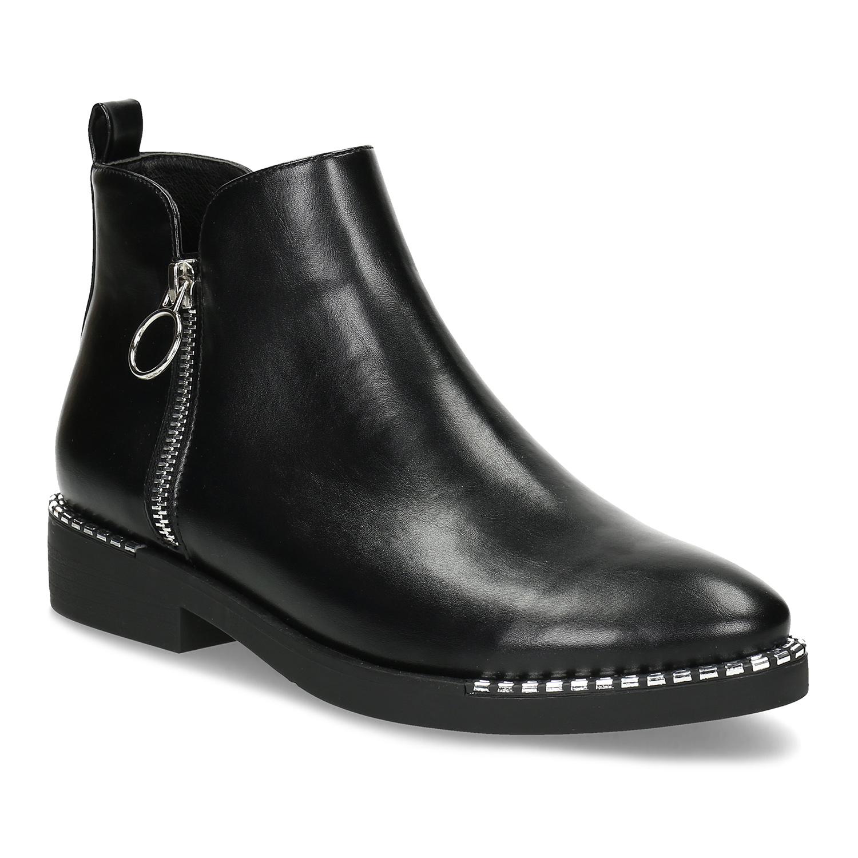 Dámska čierna členková obuv so zipsom