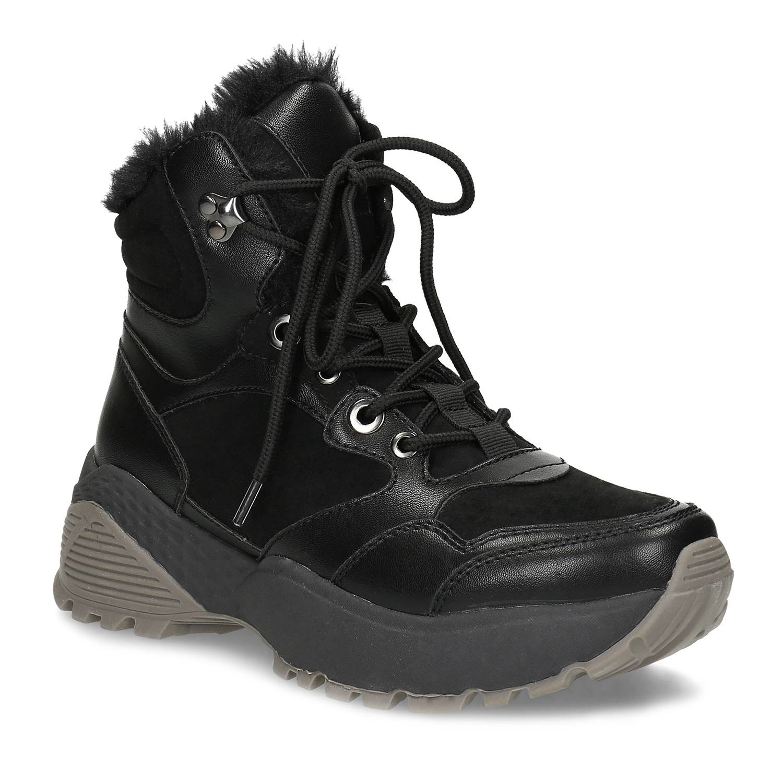 Čierna dámska členková zimná obuv
