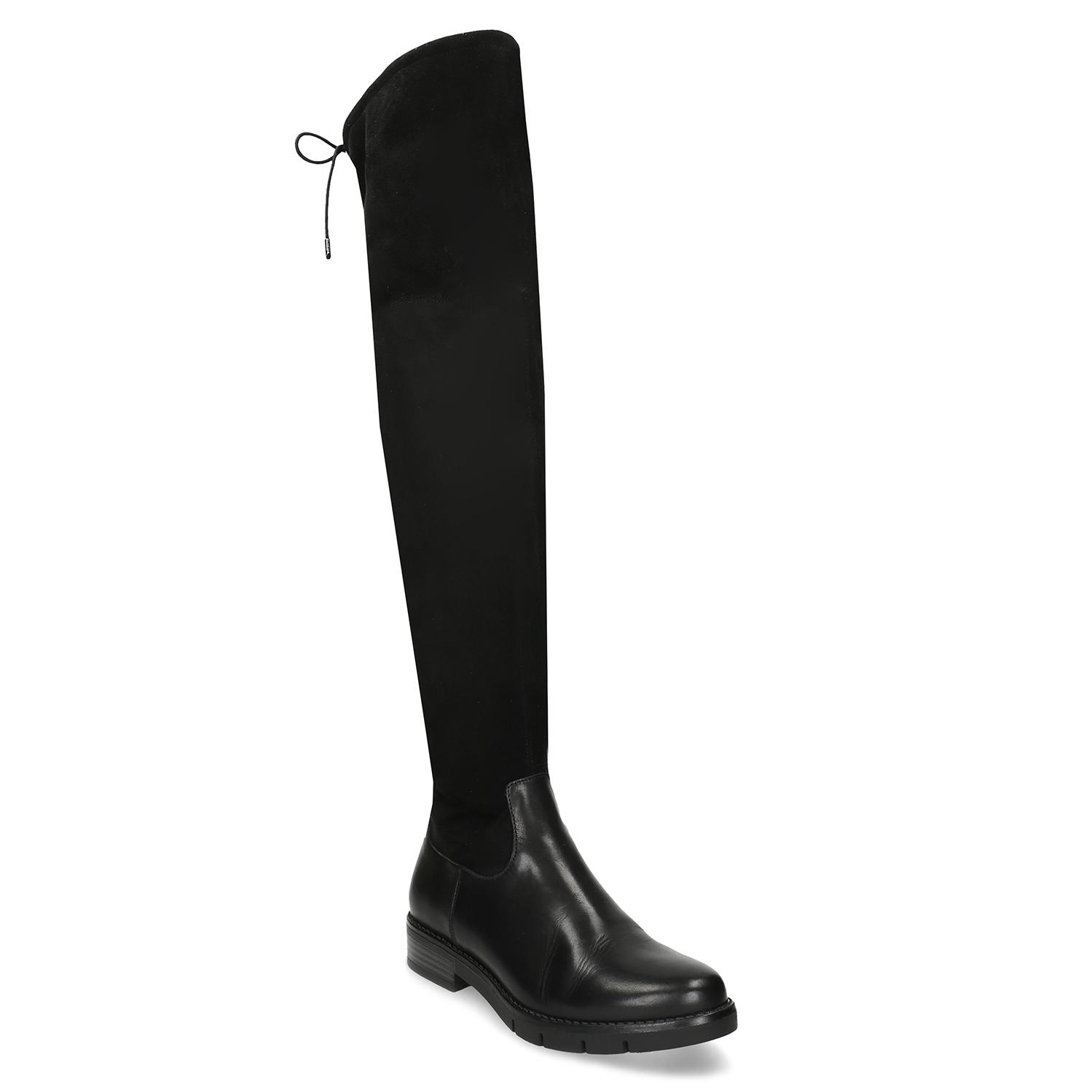 Čierne kožené dámske vysoké čižmy