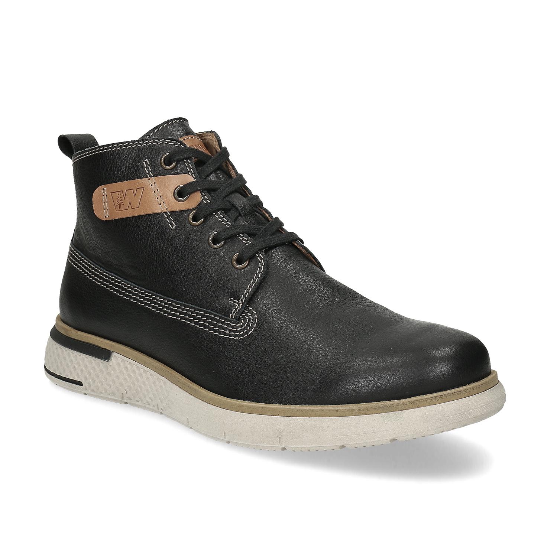 Čierna kožená pánska členková obuv