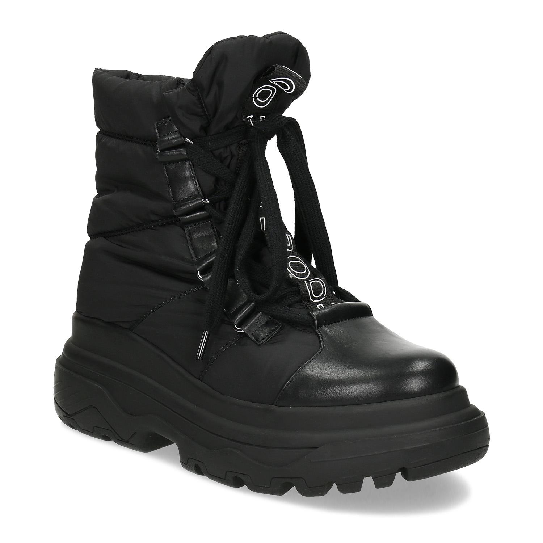 Dámska čierna zimná obuv s masívnou podrážkou