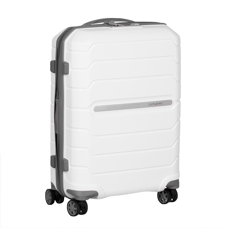Biely cestovný kufor na kolieskach
