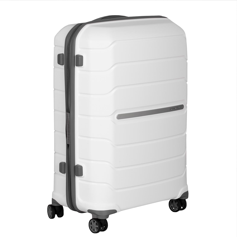 Cestovný biely kufor na kolieskach