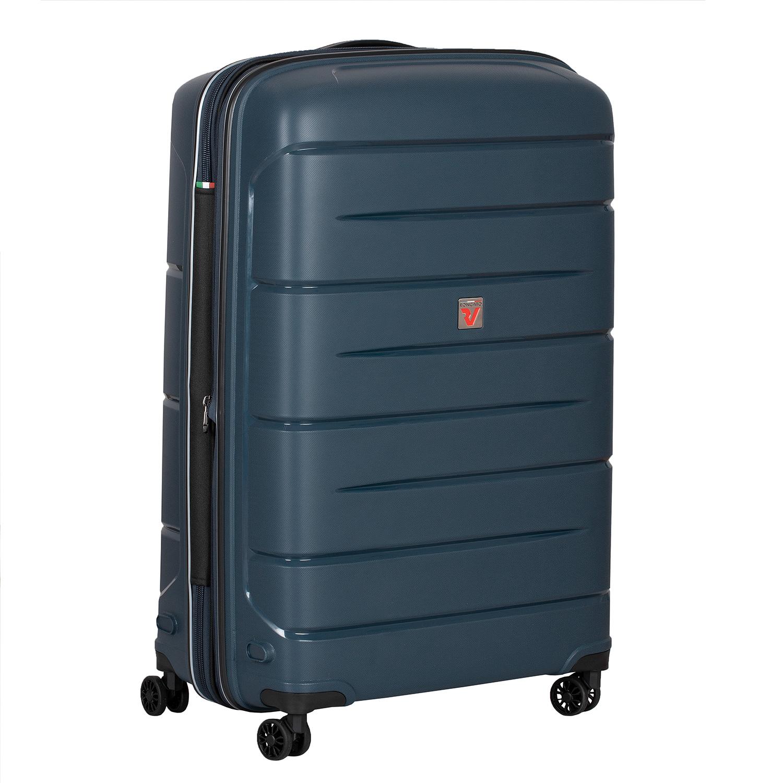 Cestovný modrý kufor na kolieskach