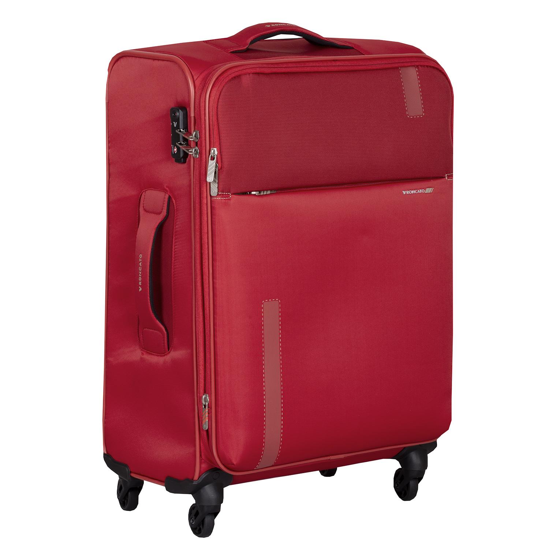 Cestovný červený kufor na kolieskach