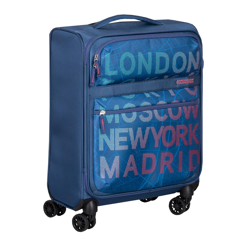 Modrý kufor na kolieskach s nápismi