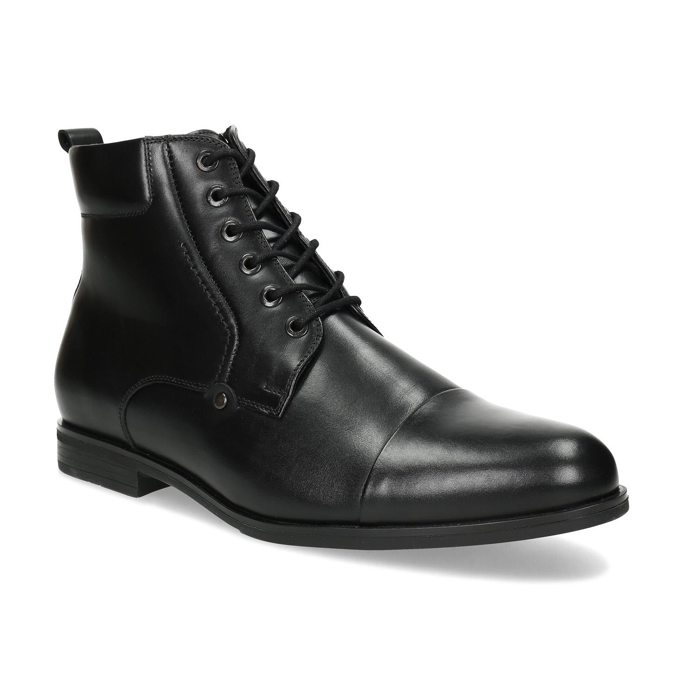 Členková pánska čierna kožená obuv
