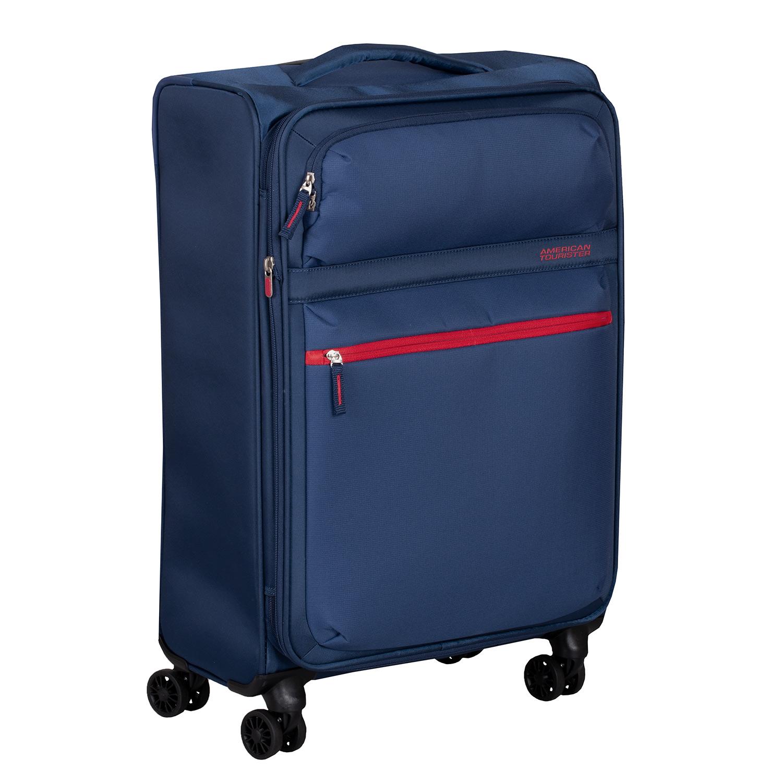Modrý textilný kufor na kolieskach
