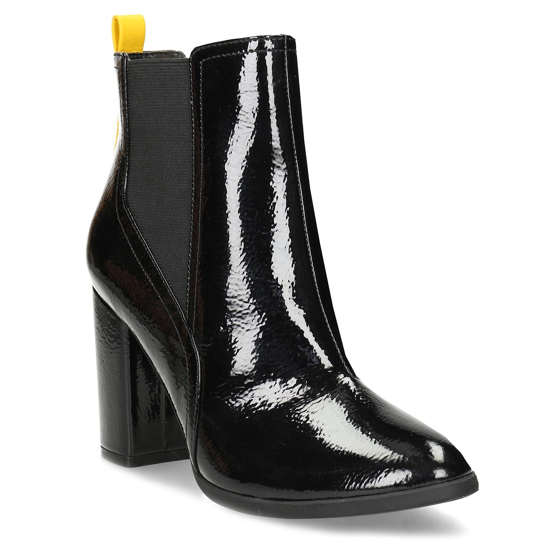 Čierne dámske Chelsea čižmy na podpätku