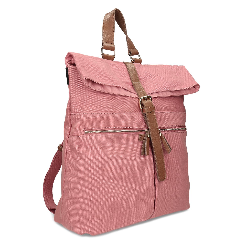Ružový dámsky batoh s hnedými detailami