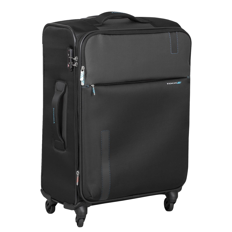 Textilný čierny kufor na kolieskach