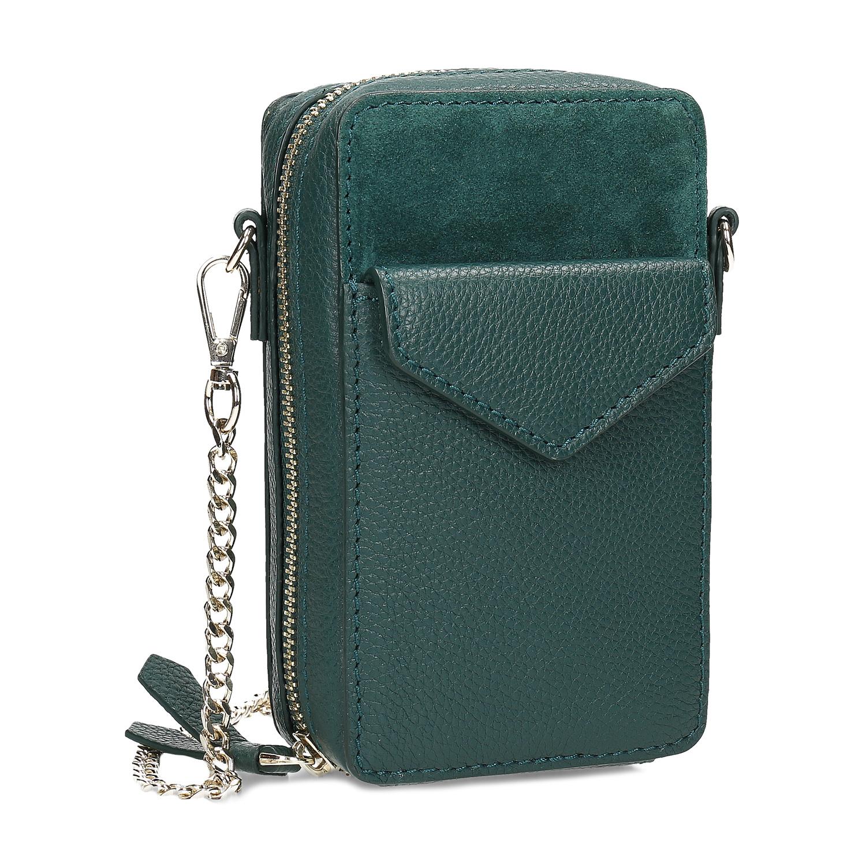 Zelená kožená dámska Crossbody kabelka