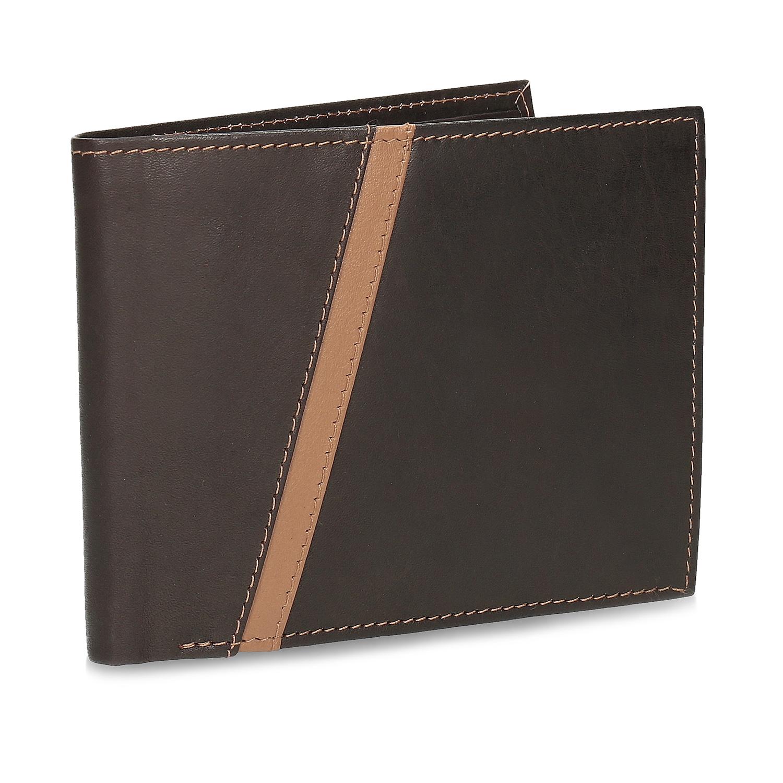 Hnedá pánska kožená peňaženka s prešitím